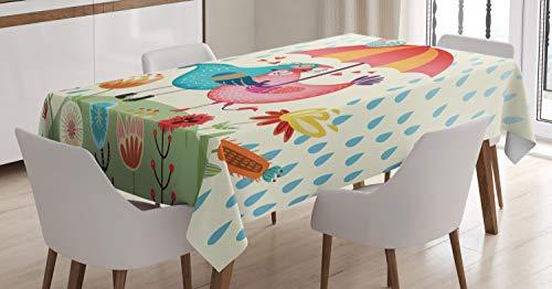 Abakuhaus amore tovaglia, san valentino uccelli, facile da pulire lavabile antisporco stampa di alta qualita', 140 x 200 cm, multicolore