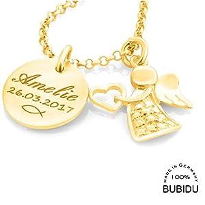 Taufkette Mädchen mit Gravur Gold ❤️ Namenskette 925 Silber vergoldet Taufe Schmuck ❤️ Geschenk Heilige Taufe Kette mit Namen Tauffisch Taufketten personalisiert | HANDMADE IN GERMANY