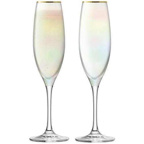 LSA International Sorbet Flûte à Champagne 225 ML Nougat X 2, Nacre, 7 x 7 x 24 cm