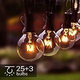 Lichterkette Außen, 28er G40 Lichterkette Glühbirne 9.5M/31FT Wasserdichte String Licht Garten Lichterkette für Innen Draussen, Party, Festival