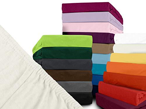 npluseins klassisches Jersey Spannbetttuch - erhältlich in 34 modernen Farben und 6 Verschiedenen Größen - 100% Baumwolle, 70 x 140 cm, Perlmutt - 2