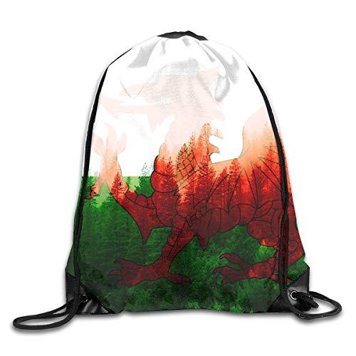 Naiyin Wales Flag with Forest Drawstring Backpack Bag Rucksack Shoulder Sackpack Sport Gym Yoga Runner Beach Hiking Dance 8 Wale Corduroy