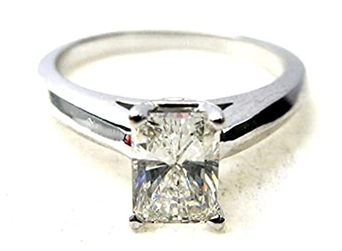 Radiant Diamond Solitaire Engagement Ring 14ct White Gold (0.48 Ct, I Color, VS1 Clarity) GIA