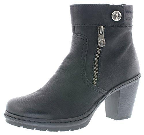 Rieker Damenschuhe Y1553 Damen Stiefel, Schlupfstiefel, Boots schwarz (schwarz / 01), EU 39