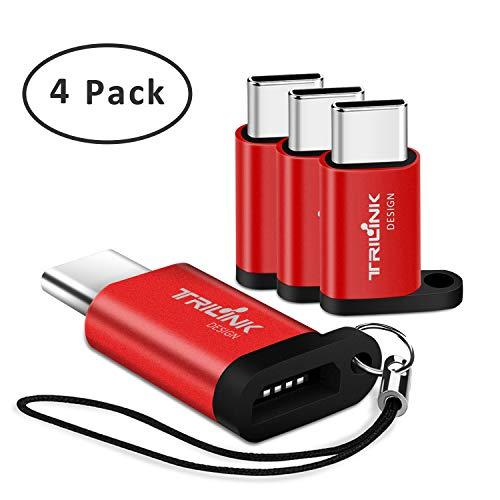 Adaptador Tipo C [Pack de 4] Adaptadores Micro USB a USB C, Sincronización  y Carga, para New iPad, Samsung Galaxy S9/S8/Note 9/8, Huawei P20/Mate