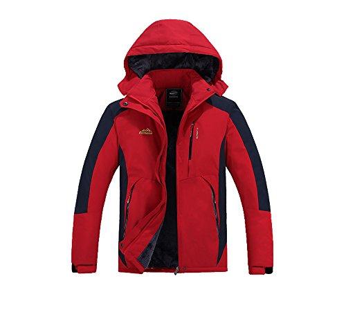 KARMARY Veste en laine polaire ¨¦paisse pour hommes Veste de ski pour l'hiver Veste imperm¨¦able pour les sports de plein air Sur le terrain Respirant au vent Rouge XL