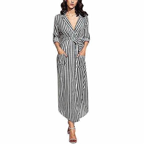 feiXIANG Damen Stripe Kleid V-Ausschnitt lange Ärmel lockers Abendmode Top  Bluse lange Maxi Dress 1cbabf4049