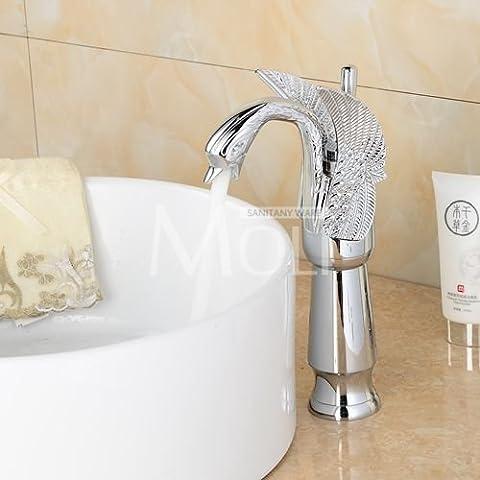 Shen Zhou Swan robinet Chrome Fini bronze huilé Or rose et blanc Painted Doré Chrome de salle de bain Haut robinet d'eau, gris clair, Chine