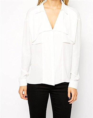 QIYUN.Z HeißE Verkaufsfrauen Klassische Chiffon- V-Ausschnitt Lose Beiläufige Tasche Langarm-Shirt Tops Weiße