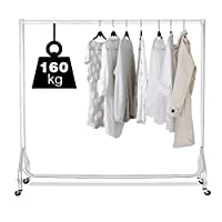 Displaysense 6ft White Heavy Duty Clothes Rail, Garment Rail - Holds up to 160kg
