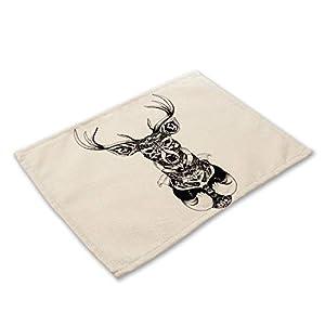 Platzsets 6er Set, Baumwolle Und Leinen Mischgewebe Jahrgang Rechteckig Waschbar Kreativ Minimalistisch Grau Hirsch…