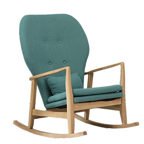 Laishutin Rocking chair Comfortable Relax Rocking Chair, Lounge Chair With Cotton Fabric Cushion Suitable for the living room (Color : Wood color, Size : M)