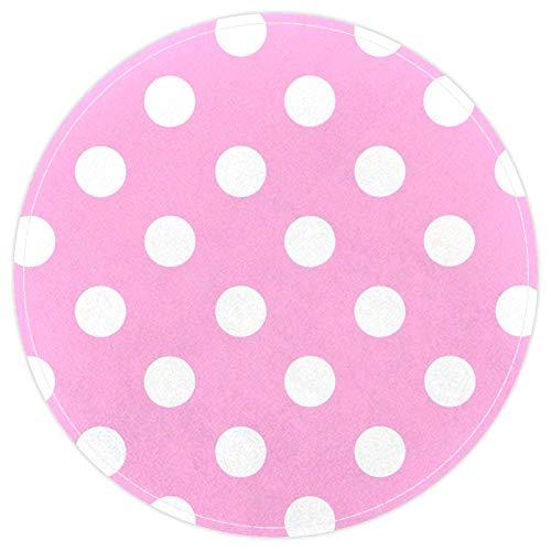 EZIOLY - Alfombra de baño Redonda Antideslizante, Lavable, diseño de Lunares, Color Rosa y Blanco, 40 x 40 cm