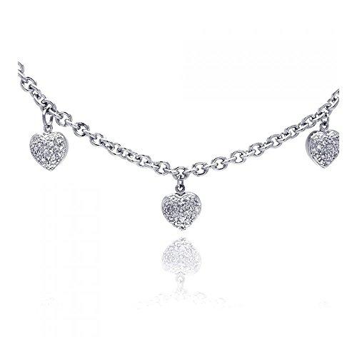 Sterling Silber Rhodium Überzogenes 3 Herze Charm Zirkon Halskette Anhänger (Cross White 10k Gold Charm)