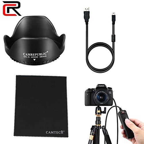 CamRepublic® Canon EOS 800D DSLR-Kamera, Kit (58mm Gegenlichtblende für-Objektiv mit EF-,–55DC III F3.5–5.6Objektiv, Daten SYS Charing Kabel, MICOFIBER Reinigungstuch, Fernauslöser Kabel) (Kamera Starter Kit Canon)