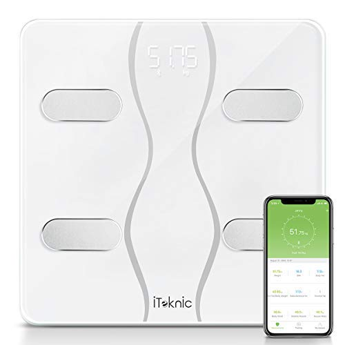 iTeknic Digitale Personenwaagen Körperfettwaage Bluetooth Digital Körperwaage Körperanalyse Körperfettüberwachung Bluetooth Gewicht Waage mit APP BMI, bis 180kg, MEHRWEG -