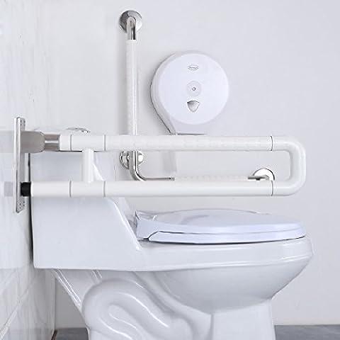 KHSKXBarrera resistente al deslizamiento libre mango plegable rieles ancianos discapacitados baño baño Wc inodoro nylon doble