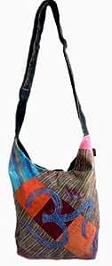 Om Yoga Patchwork Bag - Shoulder / Sling Bag with Embrodiered Om Symbol