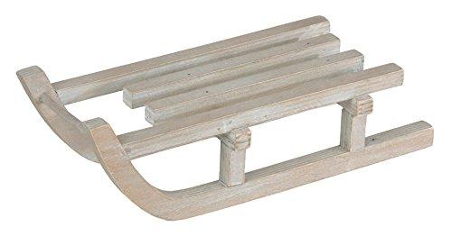 Chaks 90437, Grande Luge déco en bois blanchi 46cm