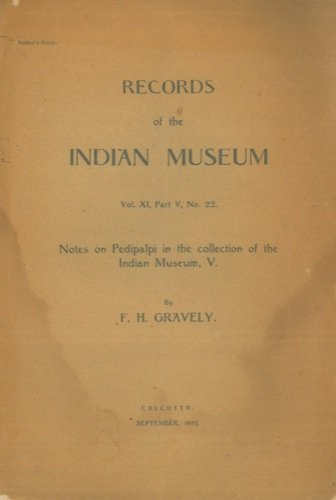 Notes on Pedipalpi in the collection of Indian Museum, V.