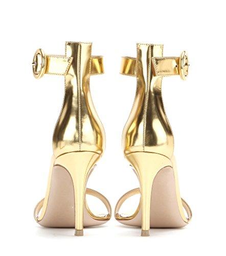 EDEFS Damen Peep Toe 80mm High Heel Sandalen mit Schnalle Sommer Stilettsandalen Knöchelriemchen Schuhe Gold