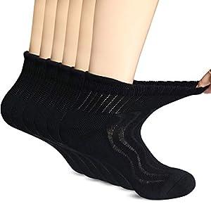 +MD 6 Paar Herren Gesundheitssocken Ohne Gummi Diabetiker Socken Feuchtigkeitsregulierend Bambussocken Schwarz EU43-46