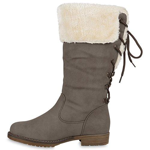 Warm Gefütterte Damen Stiefel Kunstfell Winterstiefel Boots Grau Schnürer
