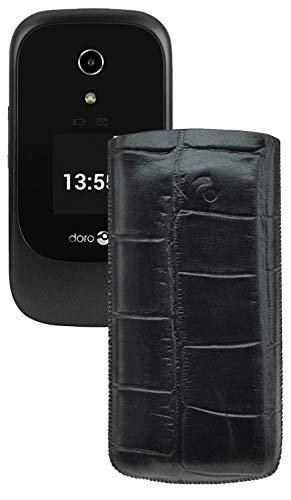 Suncase Original Tasche kompatibel mit Doro 7060 Leder Etui Handytasche Ledertasche Schutzhülle Case Hülle - Lasche mit Rückzugfunktion* In Croco Schwarz