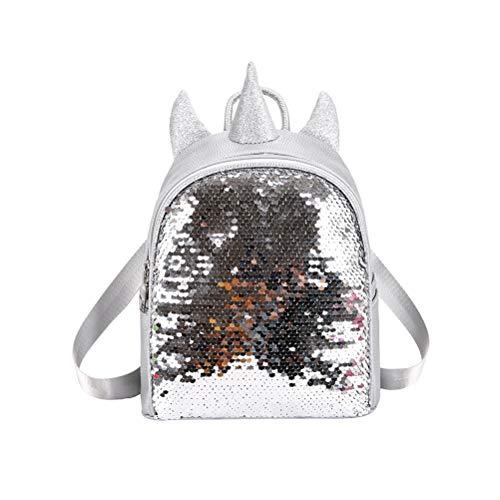 FENICAL mini zaino paillettes regalo unicorno pu zaino zaini borse da viaggio carino zainetto cartella zaino per donne ragazze studentessa (argento)