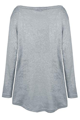 Beaii Damen V Ausschnitt Lose Langarm Oberteile Casual Shirts Knit Pullover Tops Grau