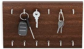 BLUEWUD Wudville Particle Board Modern Elegant Wall Mount Key Holder with 12 Hooks (Brown, KH-ND-12W)