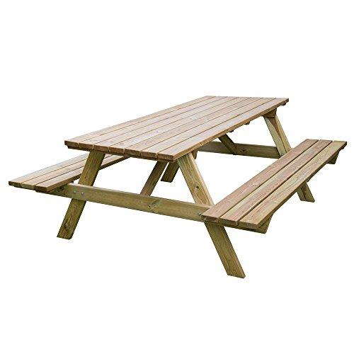 Tavolo picnic 180x120xH70 legno robusto + panche seduta arredo giardino BD-46068