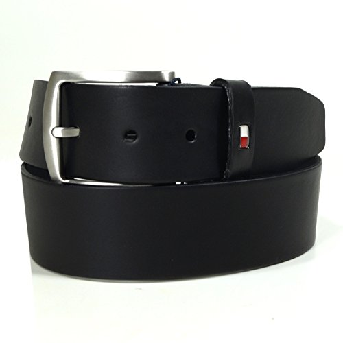 Tommy Hilfiger Herrengürtel New Denton Belt 4.0 Schwarz AM0AM01001-909 Leder Gürtel Ledergürtel Jeansgürtel 85 cm