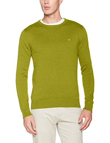 TOM TAILOR Herren Sweatshirt Basic Crew-Neck Sweater, Grün (Fresh Pistachio Melange 7849), Preisvergleich