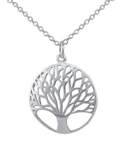 Joyas para mujer Veuer, cadena de plata con Árbol de la Vida, bañada en plata, regalo para Navidad, para mujer