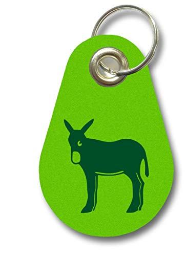 Samunshi® Schlüsselanhänger katalanischer Esel aus Filz 9,5x6,5cm apfelgrün/grün