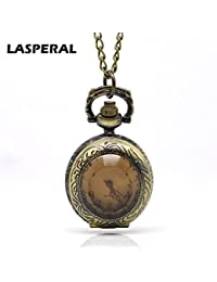 ShopyStore Lasperal Vintage Style Bronze Tone Necklace Brown Glass Quartz Pocket Watch 84Cm Gifts Fo