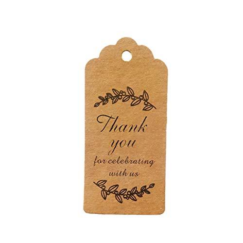 IHomiki 100Pcs / Set Papiergeschenkanhänger danken Ihnen für das Feiern mit ihnen Kreatives Design Papier Hang Tag Adorbale Hang Etiketten für Winter-Thema-Partei