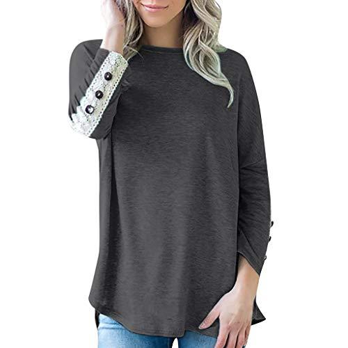 CEFGR 2019 Frauen Straßen Pullover Casual Solid Shirt Rundhals Spitze Knopf Bluse Splice Top Herbst Sweatshirt Tops Weiche Tunika - Gerippte Pfanne,