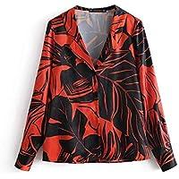 f040dbf6ec Cnsdy Camisas para Mujeres Prints Lapels Camisetas de Manga Larga Camisas  para Mujeres Loose Cardigan Tops