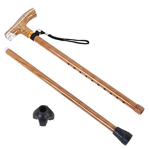 Einstellbarer Gehstock Wanderstock Trekkingstock mit Taschenlampe und Handschlaufe aus Holz für Outdoor-Aktivitäten ( Farbe : Burlywood Color ) -