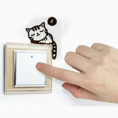 Ahaccw(TM) Cat Nap Pet Light Switch Funny Wall Decal Vinyl Sticker
