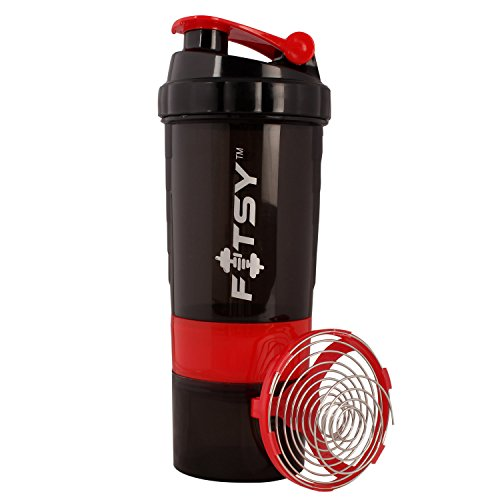 Fitsyâ® 500 Ml Protein Shaker Gym Bottle With 2 Storage Compartments And...
