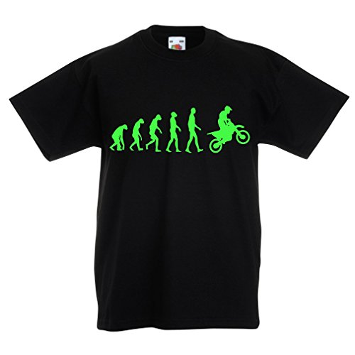 N4518K Kinder T-Shirt Evolution motorcyclist! (7-8 years Schwarz Grün)