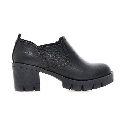 AllhqFashion Femme Tire à Talon Correct Pu Cuir Couleur Unie Rond Chaussures Légeres Noir
