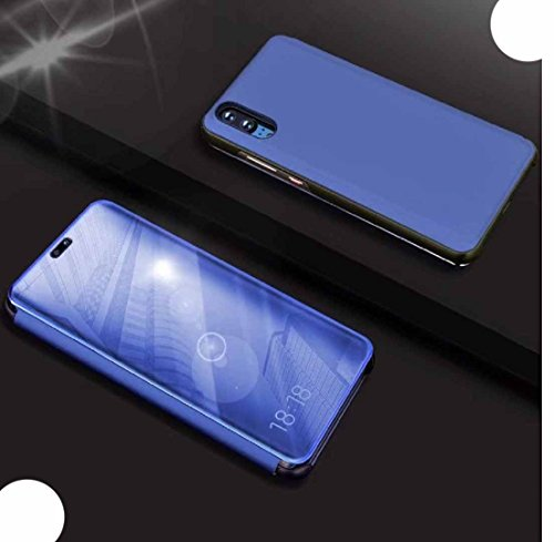 WEIFA Huawei P20 Shell, Perspective Window View Movie Flip Stand Reflective  Make-Up Plated Mirror Cover, Smart Awake Sleep Phone Casee For Huawei P20,