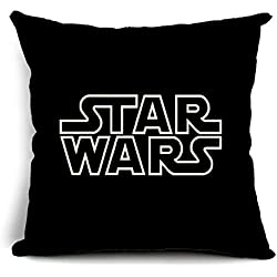 Poens Dream Funda de Coj'n, Cute Star Wars Characters Printed Cotton Linen Decorative Pillow Cushion Cover, 17.7 x 17.7inches