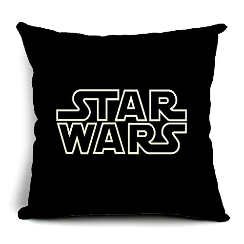 Poens Dream Cuscino, Cute Star Wars Characters Printed Cotton Linen Decorative Pillow Cushion Cover, 17.7 x 17.7inches
