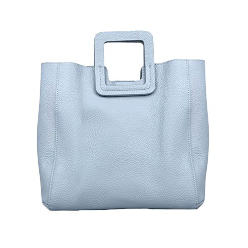 Sheli Streets of Paris Fashion Large Square Leather Tote with Convertible Strap (Metallic-leder Handtasche Cabrio :)