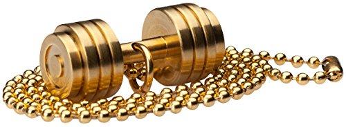 WHYRAL Bodybuilding GYM Edelstahl Fitnesskette Hantel Kette GOLD in 3 Varianten (Hantel 1 - Gold) -